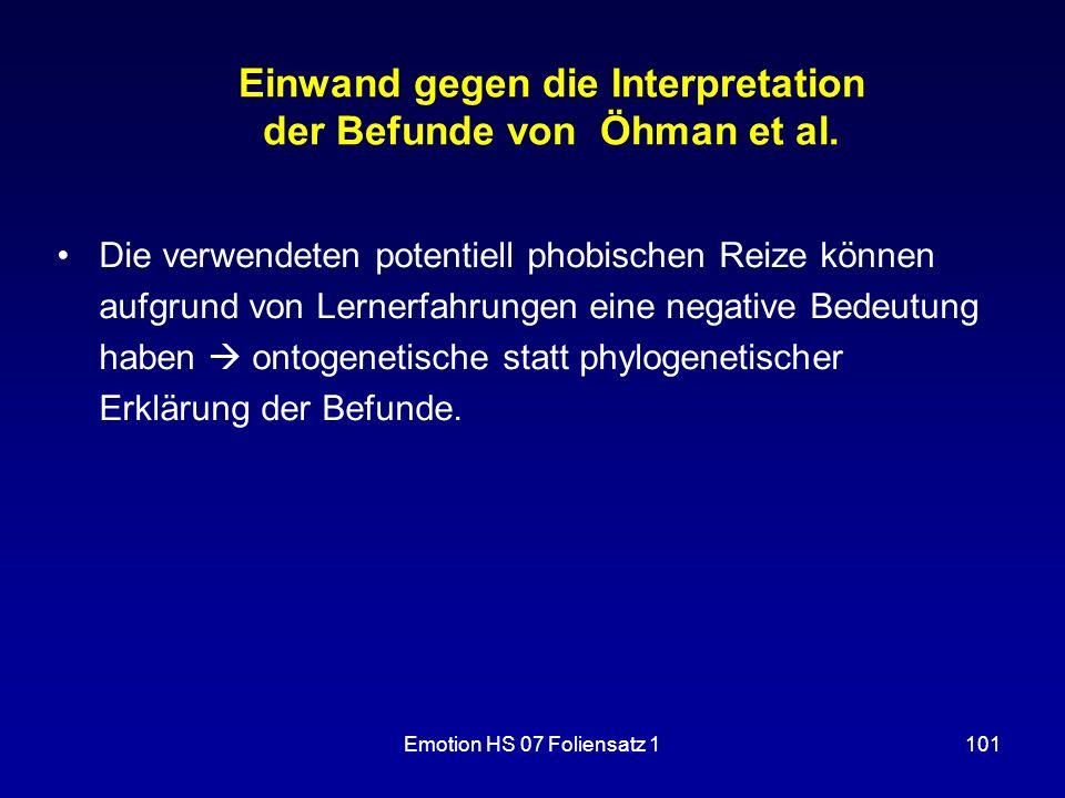 Einwand gegen die Interpretation der Befunde von Öhman et al.