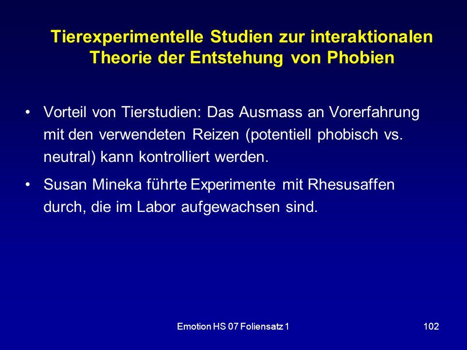Tierexperimentelle Studien zur interaktionalen Theorie der Entstehung von Phobien