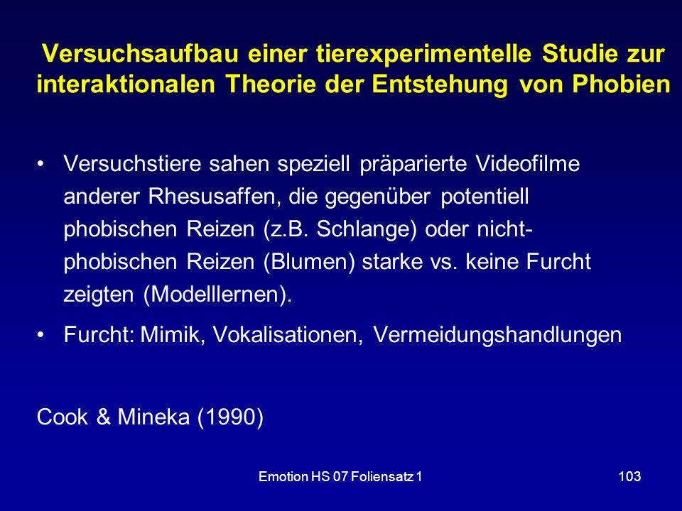 Versuchsaufbau einer tierexperimentelle Studie zur interaktionalen Theorie der Entstehung von Phobien