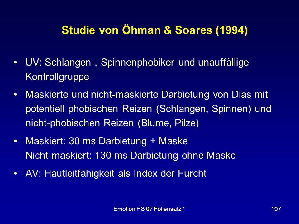 Studie von Öhman & Soares (1994)
