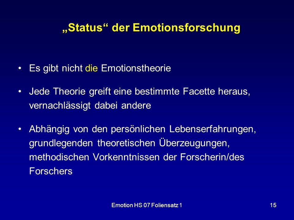 """""""Status der Emotionsforschung"""