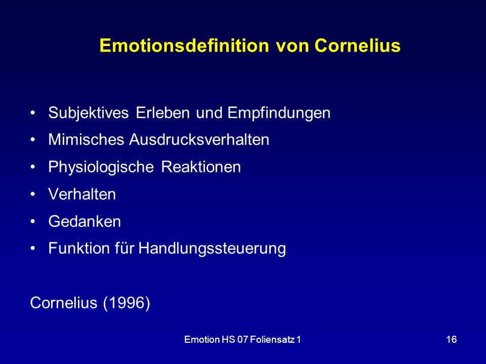 Emotionsdefinition von Cornelius
