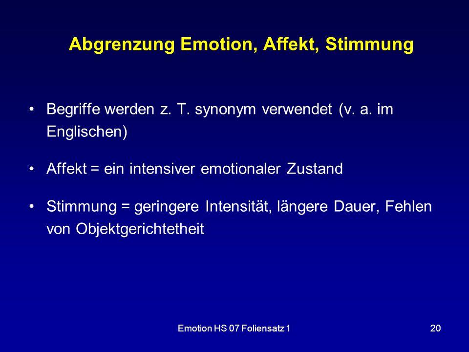 Abgrenzung Emotion, Affekt, Stimmung