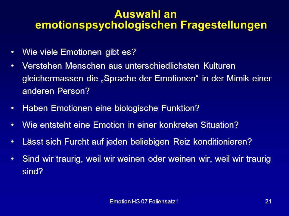 Auswahl an emotionspsychologischen Fragestellungen