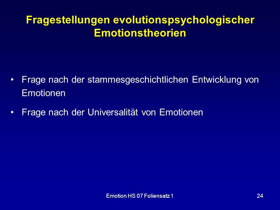 Fragestellungen evolutionspsychologischer Emotionstheorien