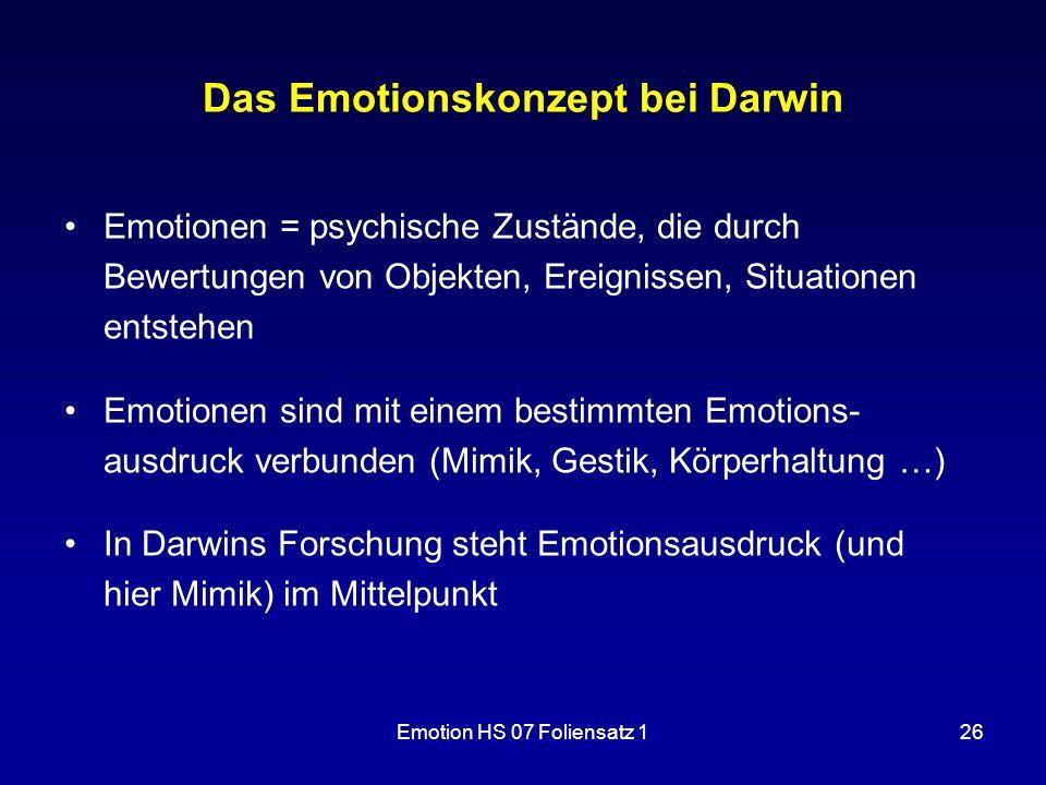 Das Emotionskonzept bei Darwin