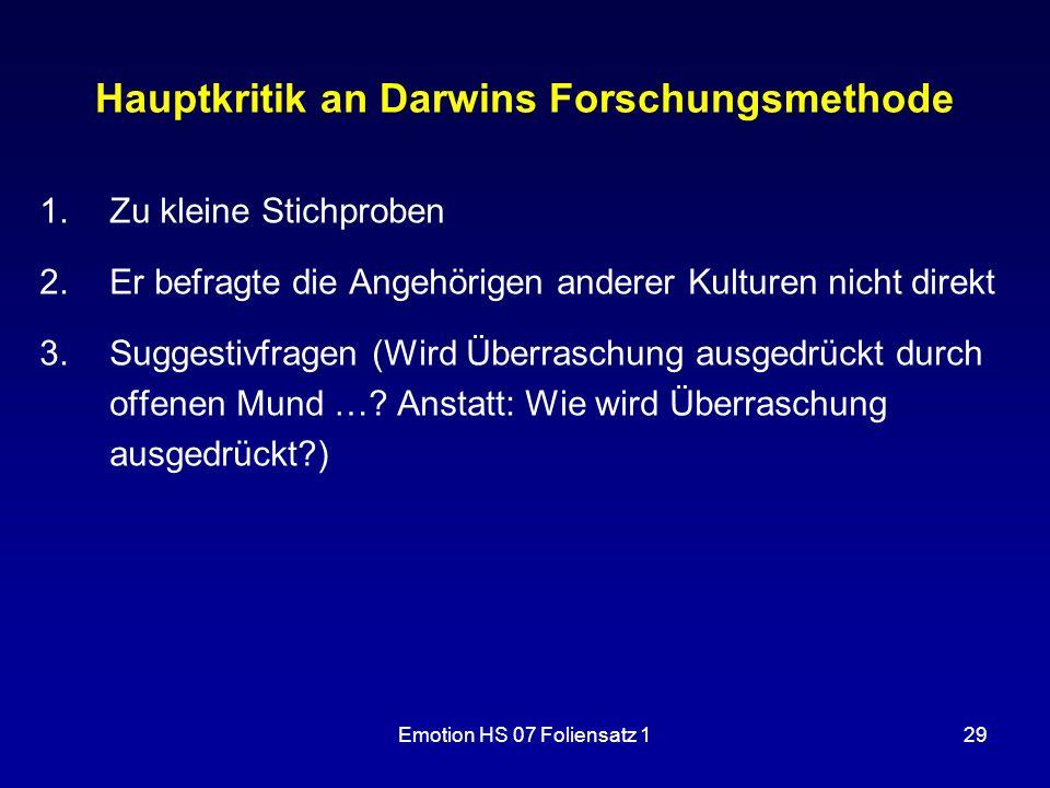 Hauptkritik an Darwins Forschungsmethode