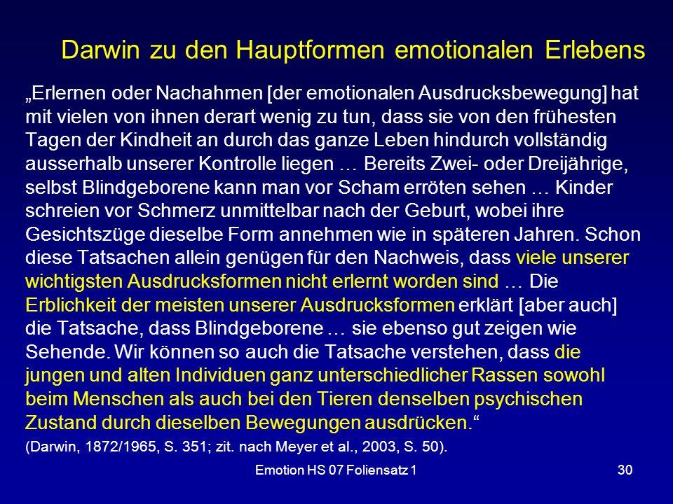 Darwin zu den Hauptformen emotionalen Erlebens