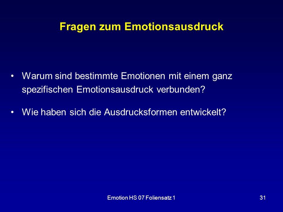 Fragen zum Emotionsausdruck
