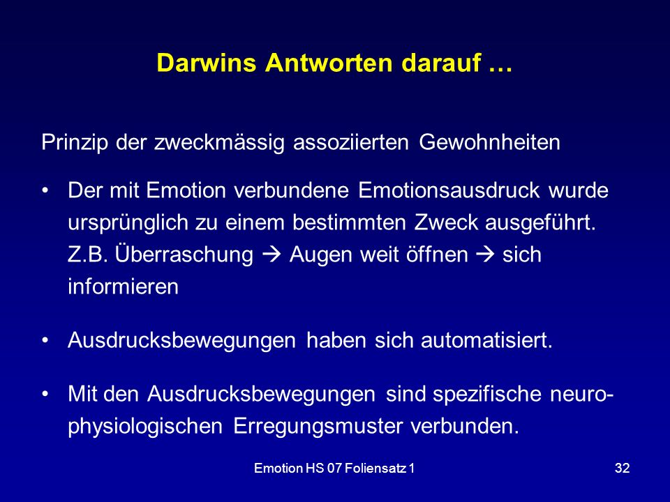 Darwins Antworten darauf …
