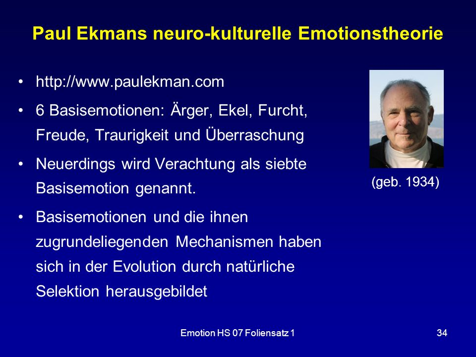 Paul Ekmans neuro-kulturelle Emotionstheorie