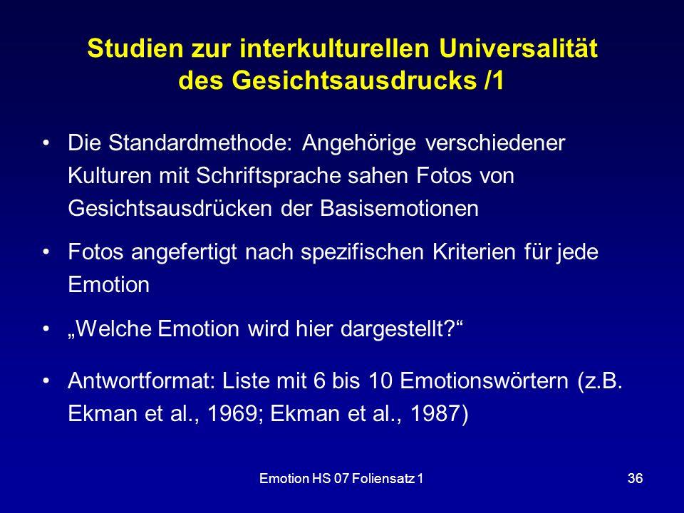 Studien zur interkulturellen Universalität des Gesichtsausdrucks /1