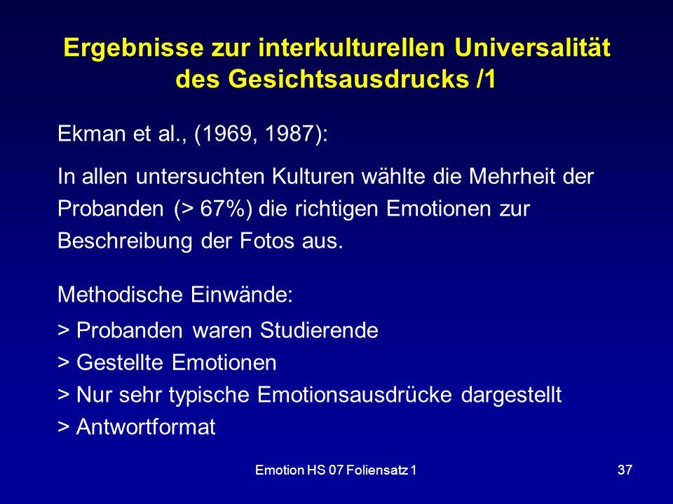 Ergebnisse zur interkulturellen Universalität des Gesichtsausdrucks /1