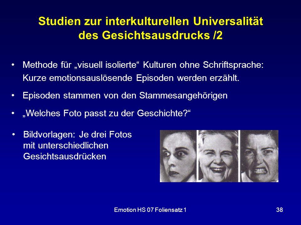 Studien zur interkulturellen Universalität des Gesichtsausdrucks /2