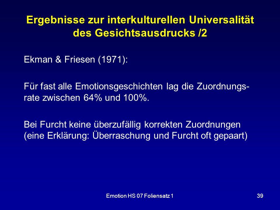 Ergebnisse zur interkulturellen Universalität des Gesichtsausdrucks /2