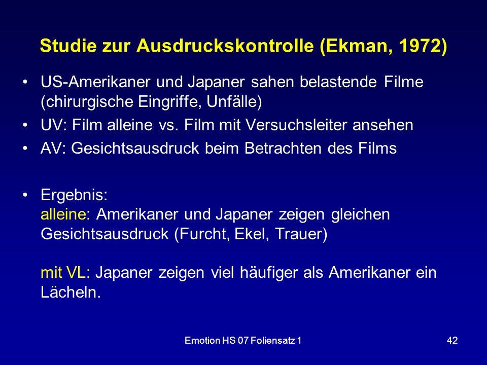 Studie zur Ausdruckskontrolle (Ekman, 1972)