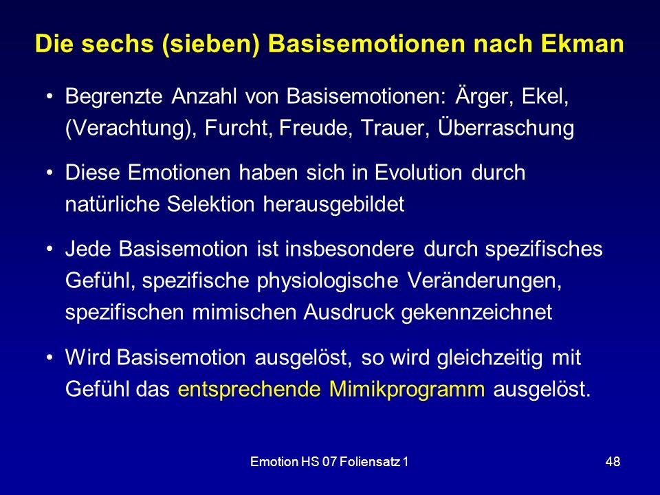 Die sechs (sieben) Basisemotionen nach Ekman