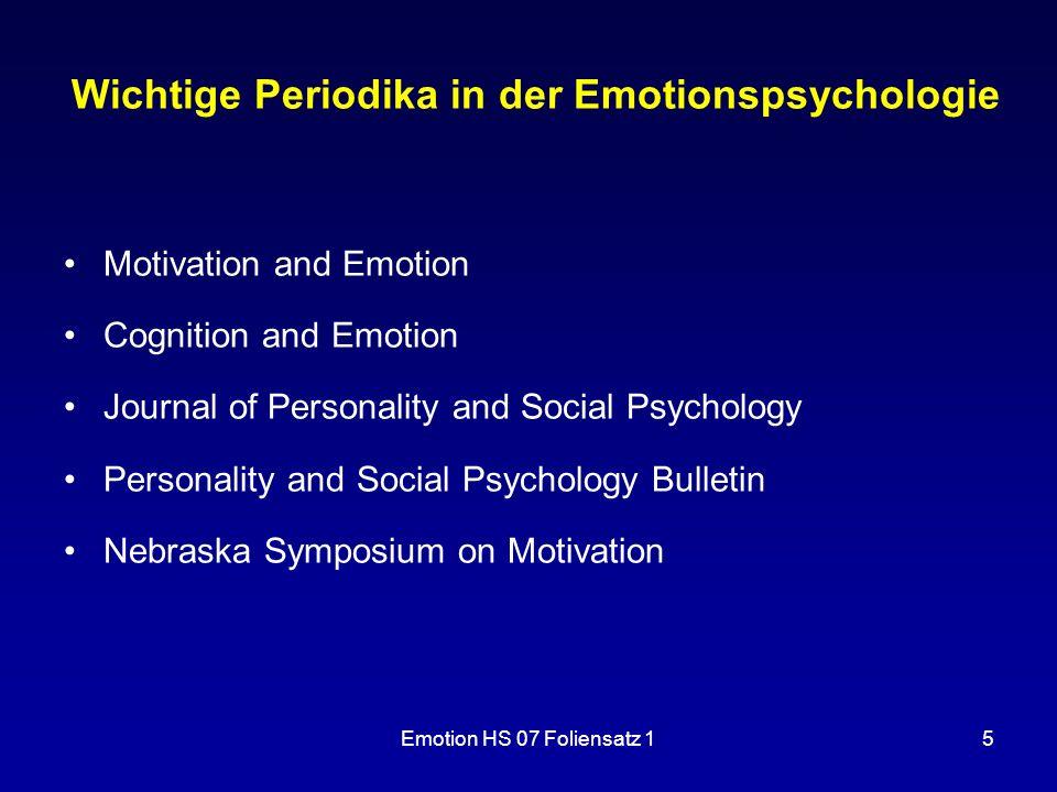 Wichtige Periodika in der Emotionspsychologie