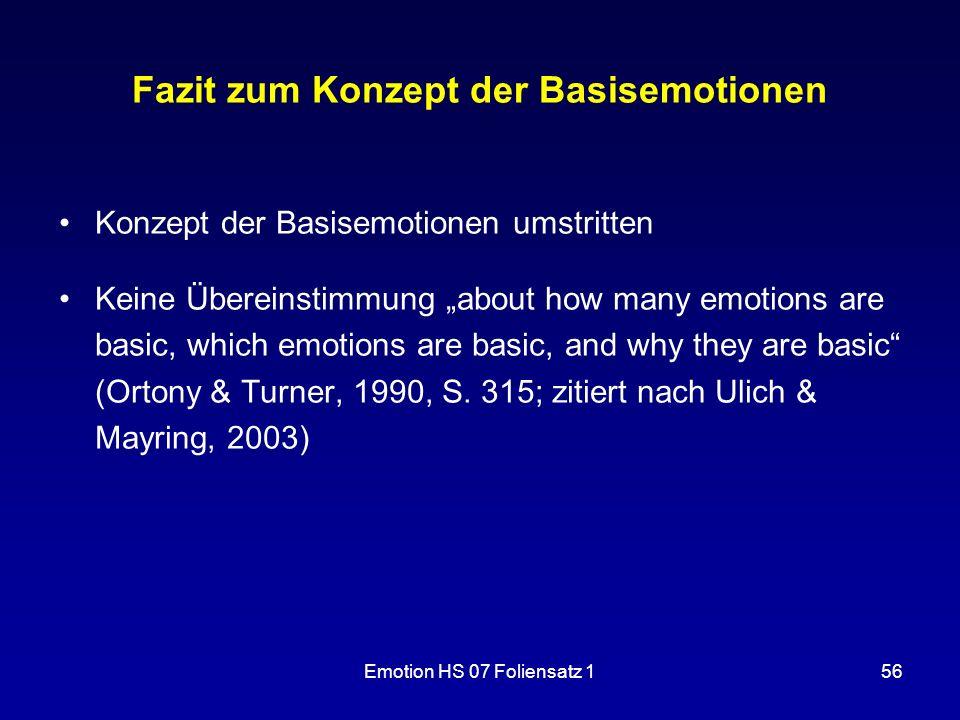 Fazit zum Konzept der Basisemotionen