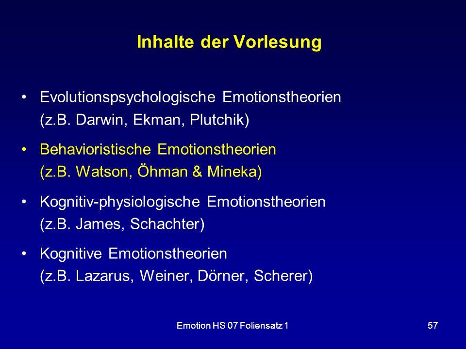Inhalte der Vorlesung Evolutionspsychologische Emotionstheorien (z.B. Darwin, Ekman, Plutchik)