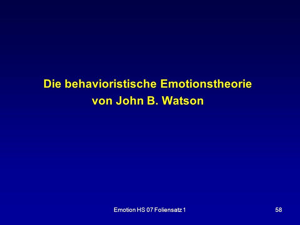 Die behavioristische Emotionstheorie von John B. Watson