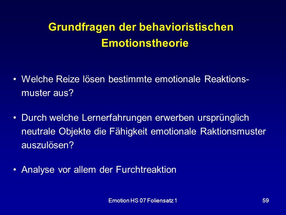 Grundfragen der behavioristischen Emotionstheorie