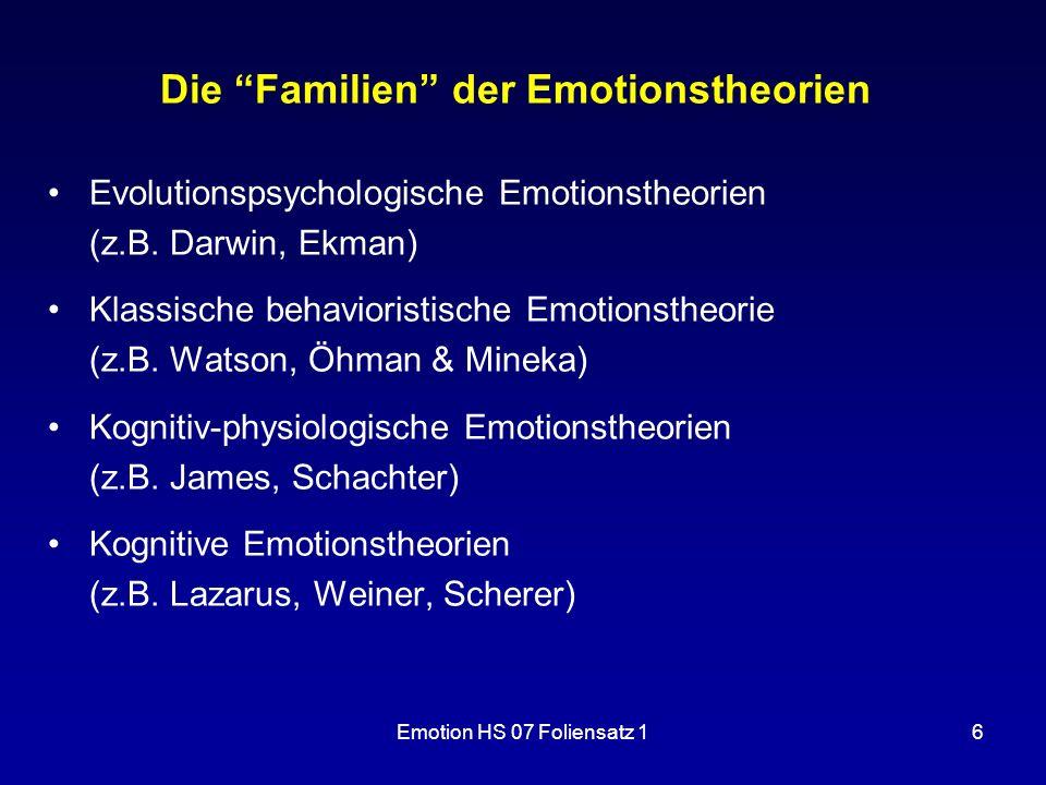 Die Familien der Emotionstheorien