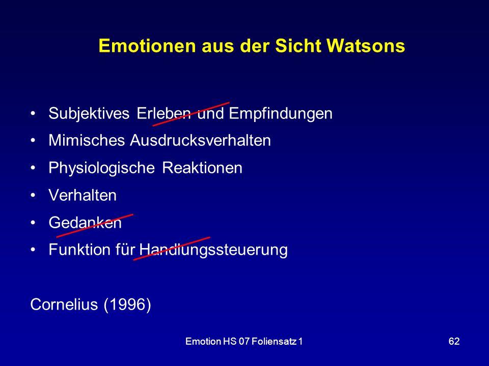 Emotionen aus der Sicht Watsons