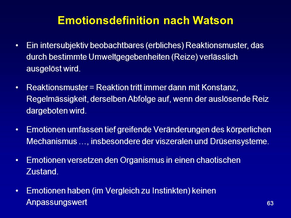 Emotionsdefinition nach Watson