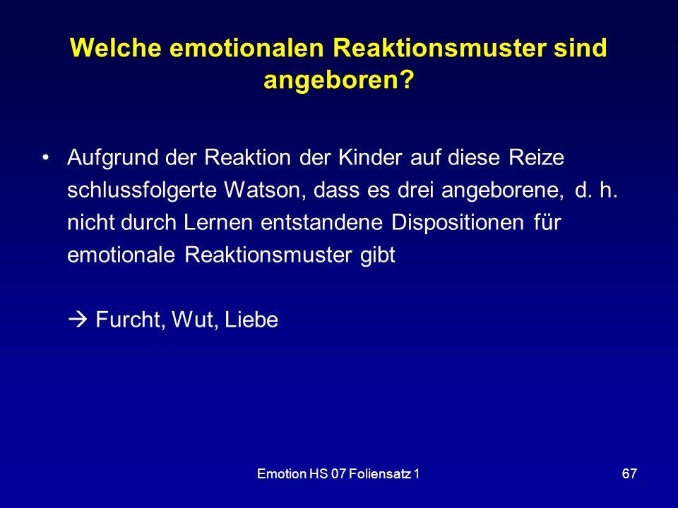 Welche emotionalen Reaktionsmuster sind angeboren