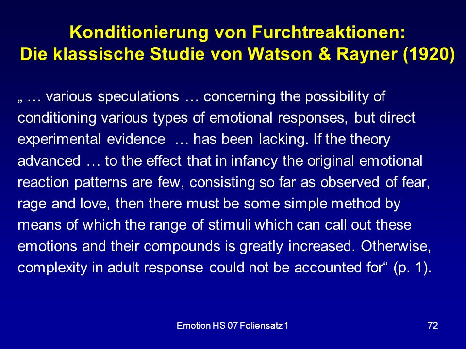 Konditionierung von Furchtreaktionen: Die klassische Studie von Watson & Rayner (1920)