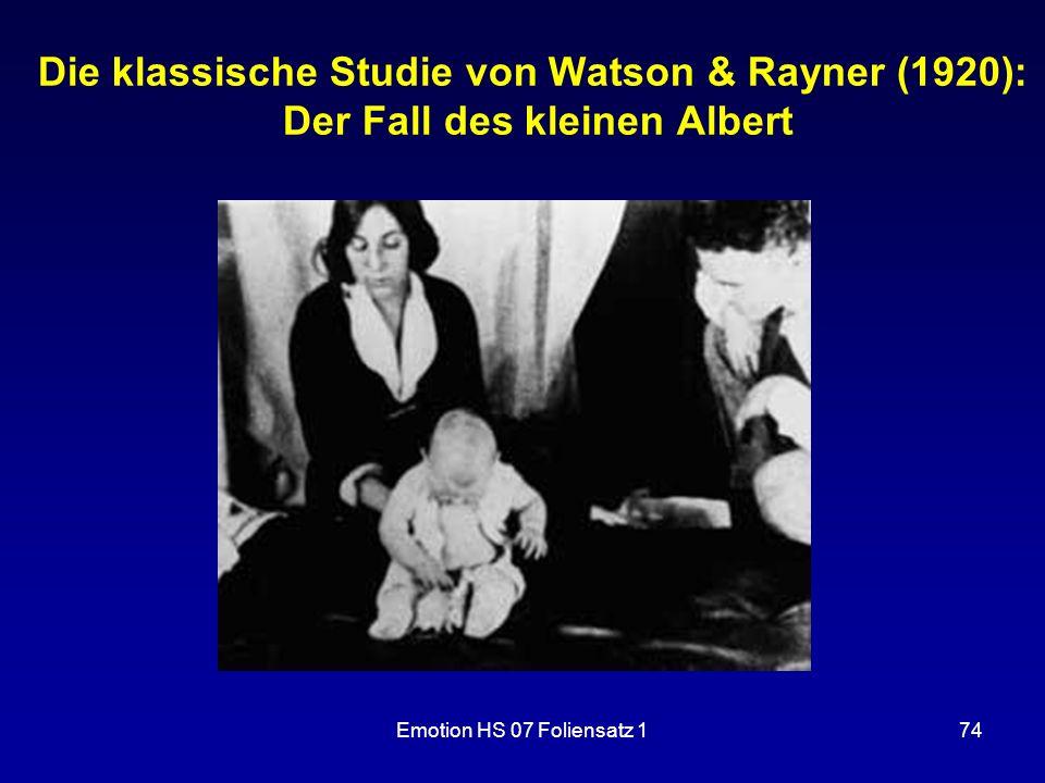 Die klassische Studie von Watson & Rayner (1920): Der Fall des kleinen Albert