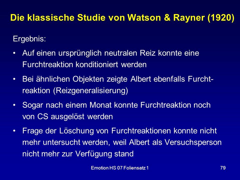 Die klassische Studie von Watson & Rayner (1920)