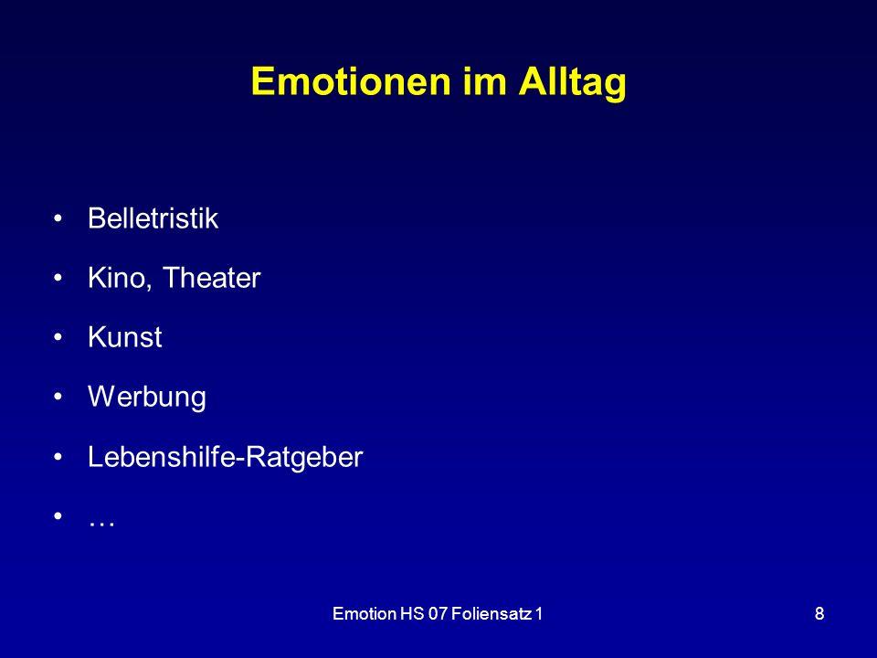 Emotionen im Alltag Belletristik Kino, Theater Kunst Werbung