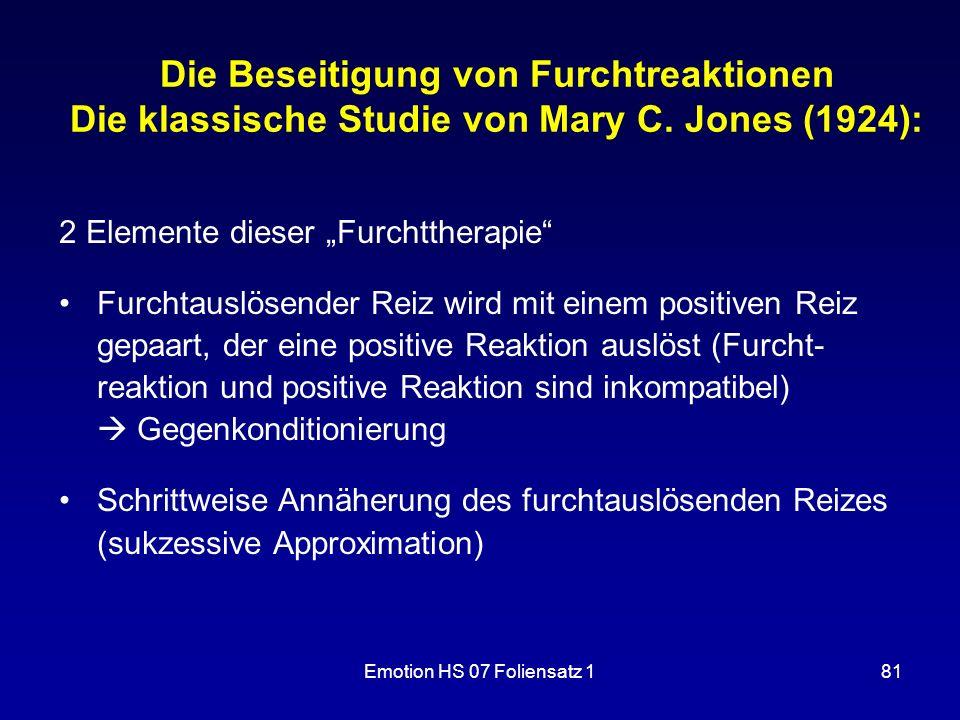 Die Beseitigung von Furchtreaktionen Die klassische Studie von Mary C