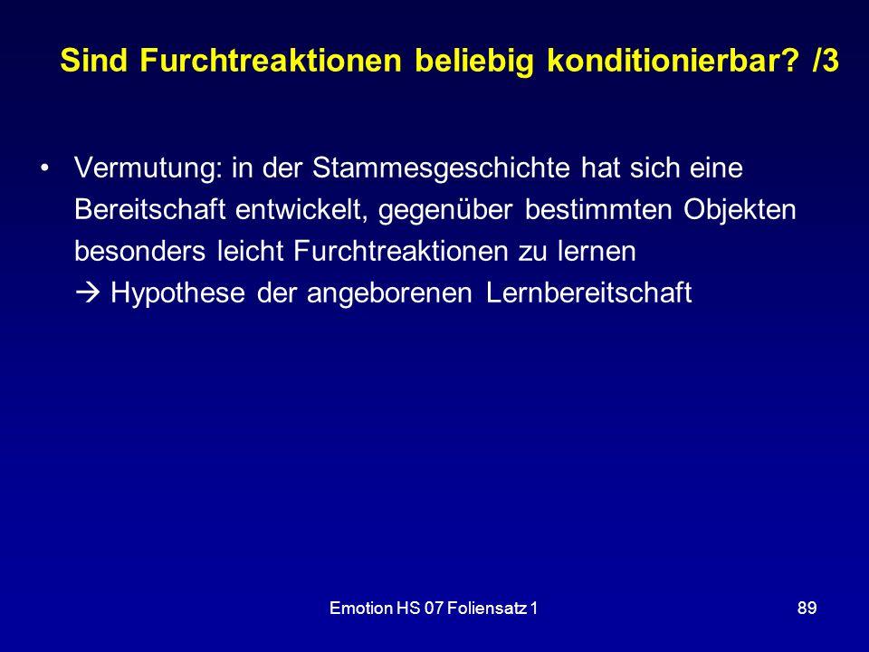 Sind Furchtreaktionen beliebig konditionierbar /3