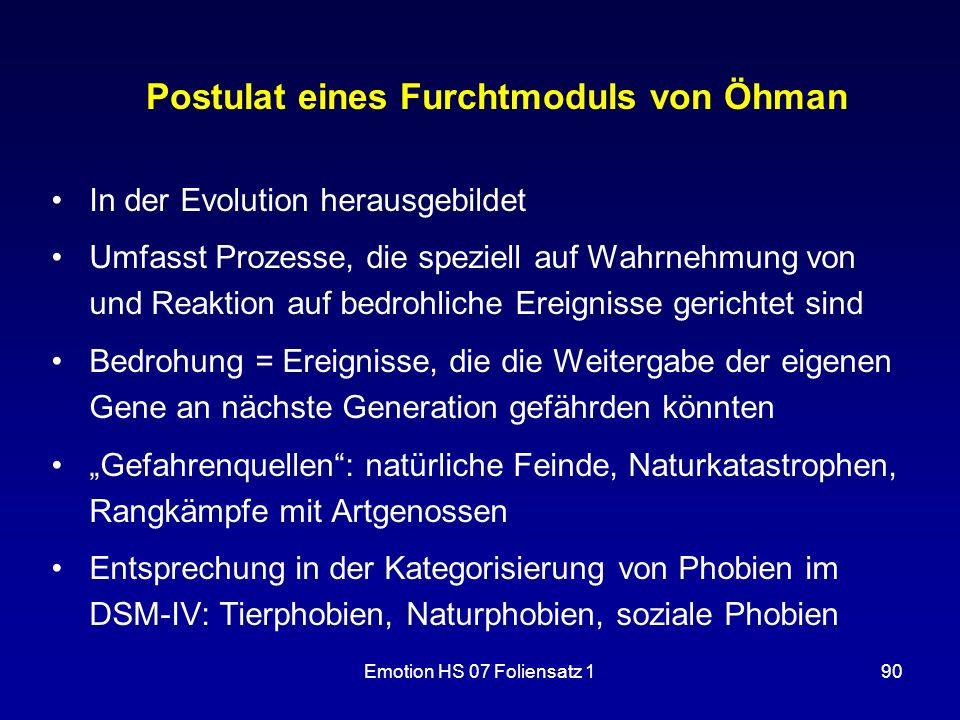 Postulat eines Furchtmoduls von Öhman
