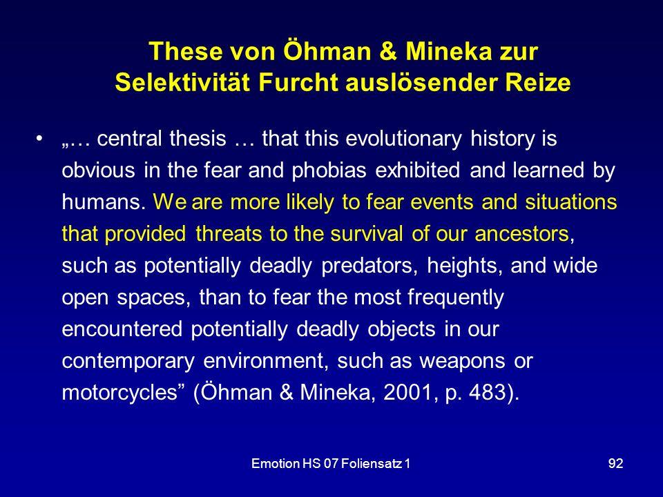 These von Öhman & Mineka zur Selektivität Furcht auslösender Reize
