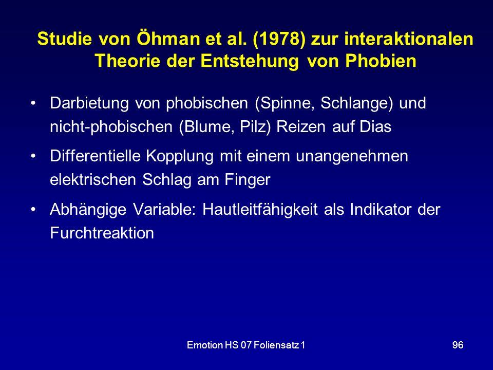 Studie von Öhman et al. (1978) zur interaktionalen Theorie der Entstehung von Phobien
