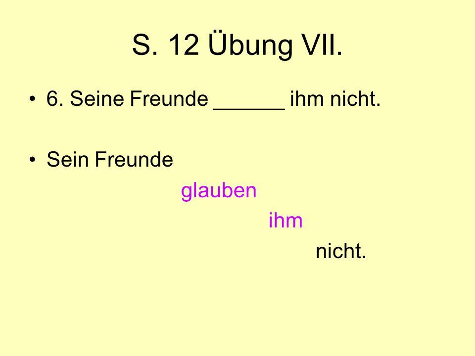 S. 12 Übung VII. 6. Seine Freunde ______ ihm nicht. Sein Freunde