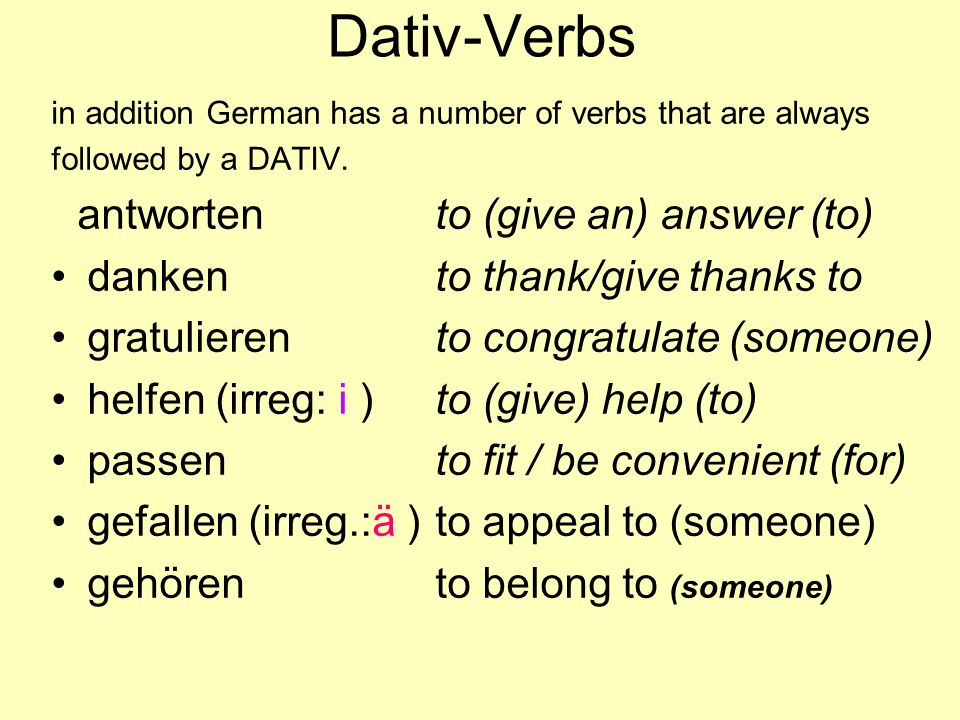 Dativ-Verbs danken to thank/give thanks to