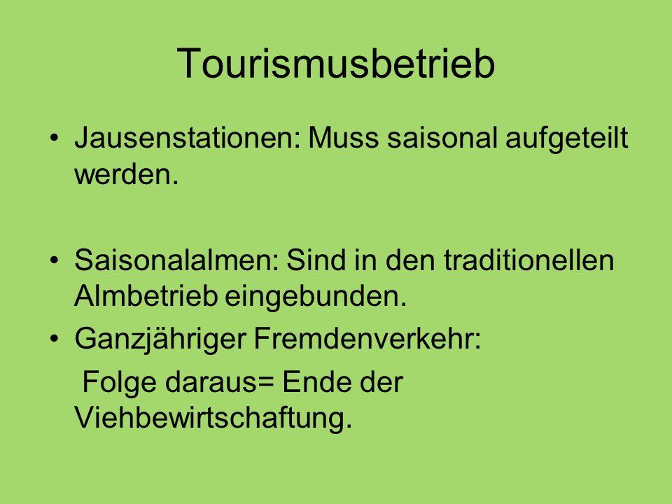 Tourismusbetrieb Jausenstationen: Muss saisonal aufgeteilt werden.