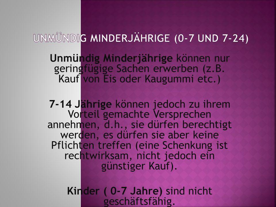 Unmündig Minderjährige (0-7 und 7-24)