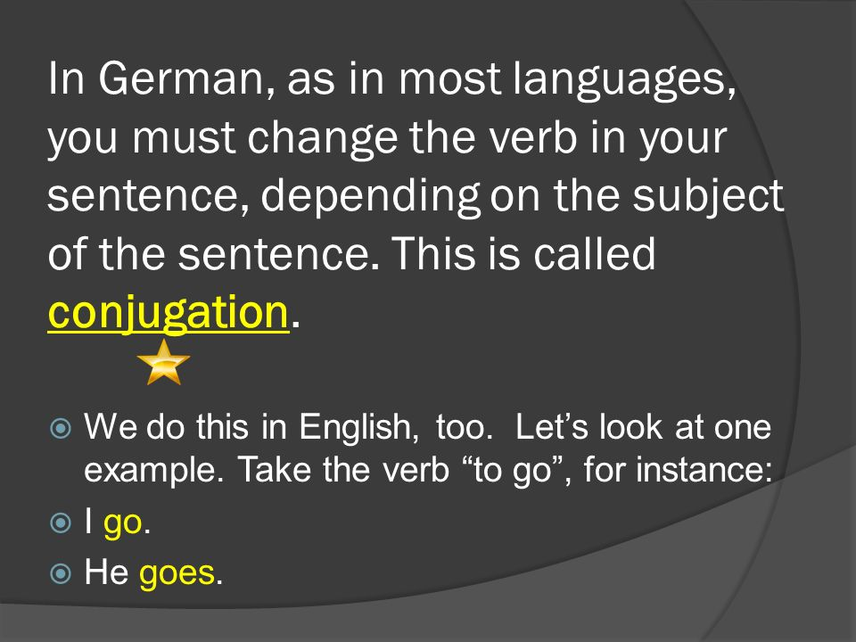 In German, as in most languages, you must change the verb in your sentence, depending on the subject of the sentence. This is called conjugation.