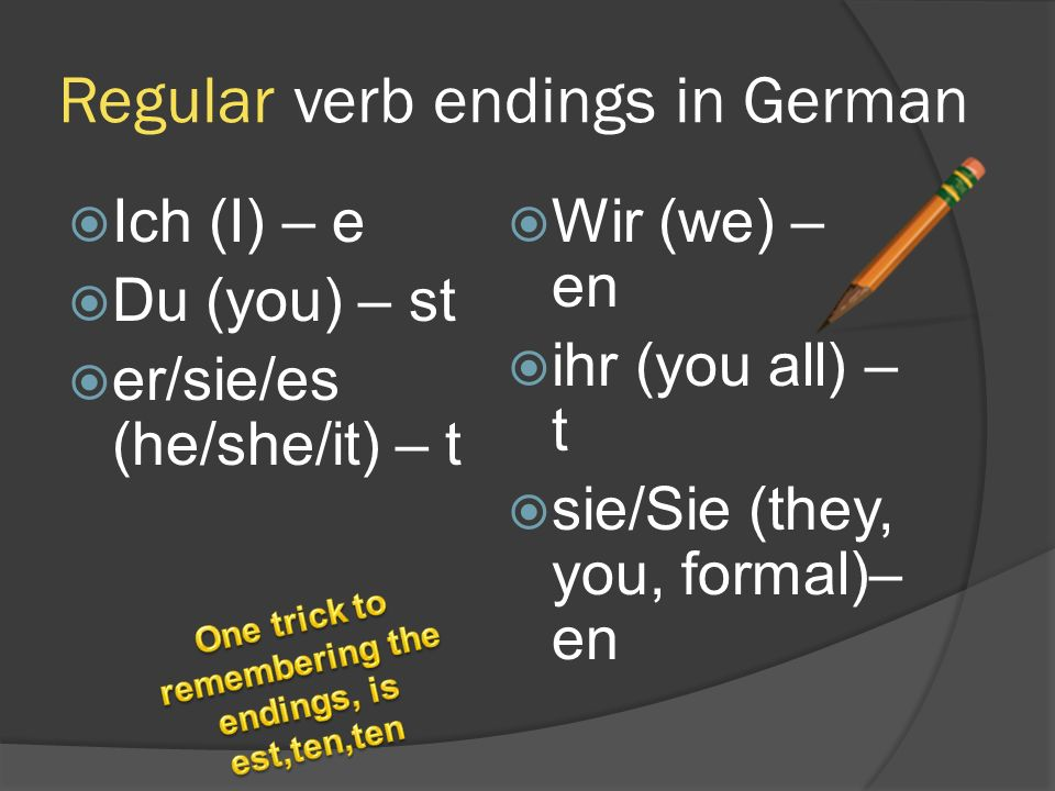 Regular verb endings in German