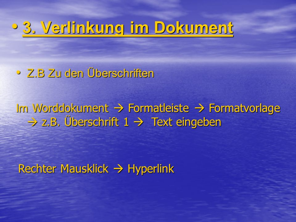 3. Verlinkung im Dokument