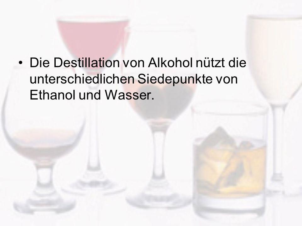 Die Destillation von Alkohol nützt die unterschiedlichen Siedepunkte von Ethanol und Wasser.