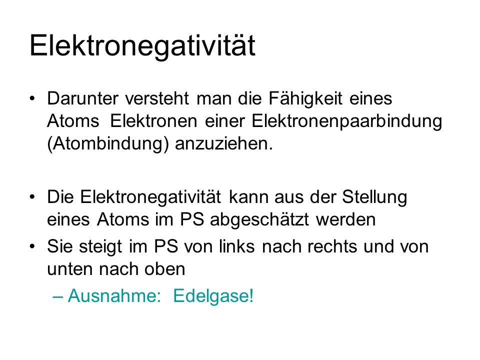 Elektronegativität Darunter versteht man die Fähigkeit eines Atoms Elektronen einer Elektronenpaarbindung (Atombindung) anzuziehen.