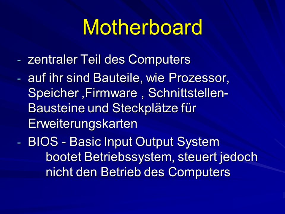 Motherboard zentraler Teil des Computers