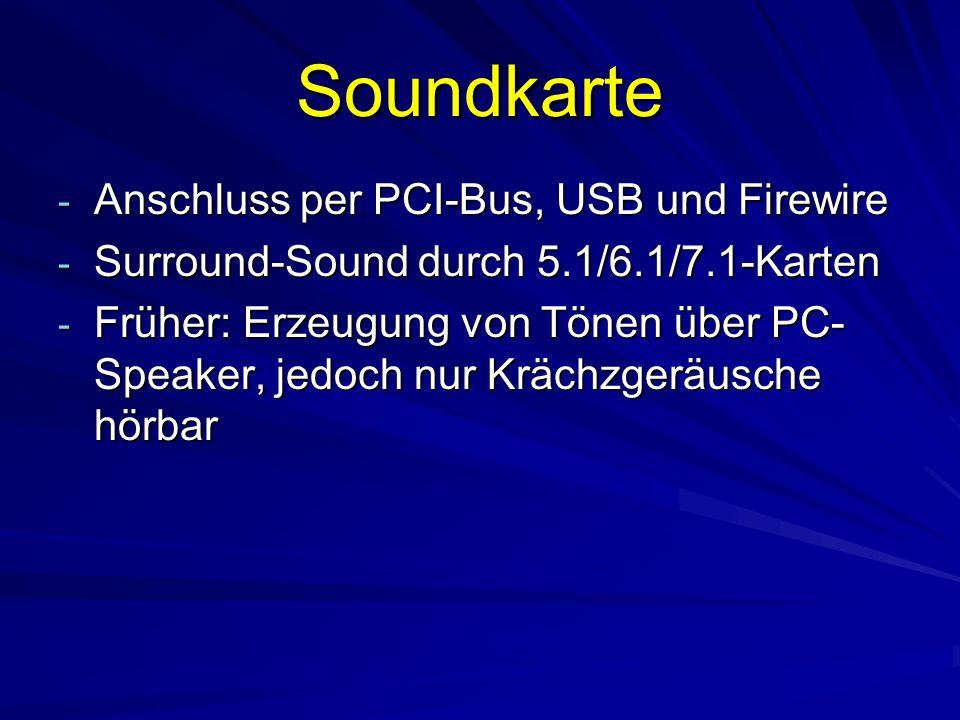 Soundkarte Anschluss per PCI-Bus, USB und Firewire